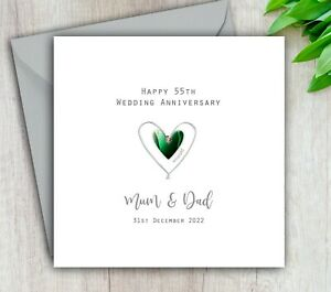 Personalised Handmade 55th Wedding Anniversary Card Emerald Mum Dad Husband Wife
