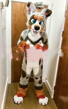 Long Fur Husky Dog Mascot Costume Cosplay Cartoon Wolf Fancy Dress Fursuit