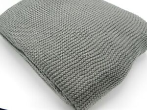 Dark Grey Snugly knitted Throw bedspread for sofa beds armchair Size-130x170cms
