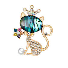AU_ BL_ Qu_ BL_ Women Stylish Rhinestone Crown Cat Brooch Pin Bridal Wedding Par