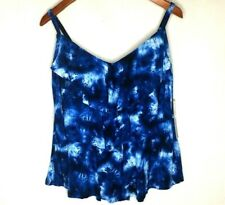Womens Plus Size 18W Tankini Top Ruffled Tiered Slimming Tie Dye Blue Swim XL