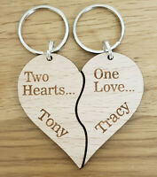 PERSONALISED WOODEN KEYRING VALENTINES GIFT WEDDING ANNIVERSARY COUPLE PRESENT