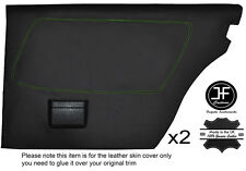 GREEN STITCH 2X REAR FULL DOOR CARD LEATHER COVERS FITS MERCEDES W123 1978-1985