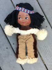 """Vintage 70's Handcrafted 13"""" Native American Indian Yarn Doll"""