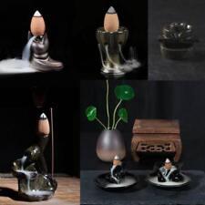 Water Lily Ceramic Glaze Incense Burner Holder Buddhist Backflow Censer
