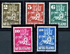 Weeda Netherlands B214-B218 VF used 1950 semi-postal set CV $37.70