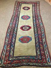 Antique Rare 1880' Caucasian kazak Rug 3x8ft Collectors Pc