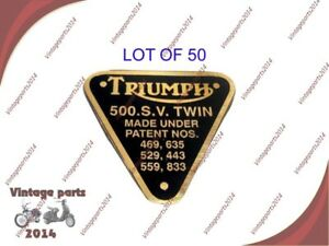 50xTRIUMPH TRW BRASS TIMING COVER 500 S. V. TWIN PATENT PLATE BADGE