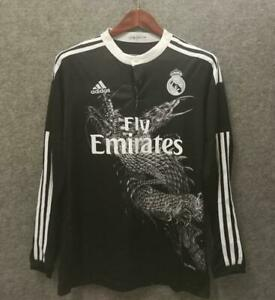 2014-15 Real Madrid Black Long sleeves Shirt Retro Jerseys Football Soccer