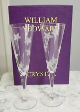 Vintage William Yeoward Crystal Etched Star Champagne Glass Set Wedding