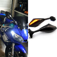 Motorcycle Integrated LED Turn Signal Rearview Mirrors for Yamaha YZF R6 R3 R1 A