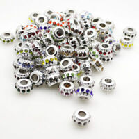 New 5pcs Czech Crystal Silver Big Hole Spacer Charms Beads Fit European Bracelet