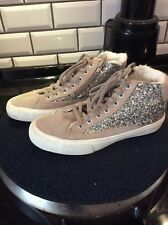 Girls ZARA Nude Glitter Fur Lined Trainers Boots Size Euro 37 Excellent Cond.