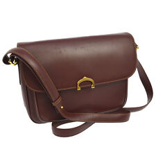 Auth CARTIER Must De Cartier Cross Body Shoulder Bag Bordeaux Leather B31596a