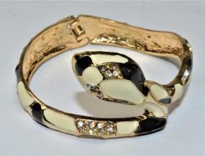 "Goldtone Black White Enamel Clear Rhinestones SNAKE Shape 2 3/8"" Bracelet"
