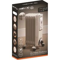 Daewoo Portable 7 Fin 1500w Electric OIL FILLED RADIATOR Heater With Thermostat