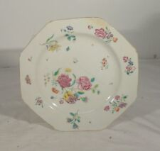 Antique Chinese Export or European Painted Enamel Repaired PLate Floral Fine