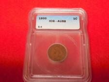 1900 Indian Head Cent ICG AU-58 Snow S-4 Repunched Date 90/90