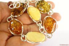 Poland Multi Baltic Amber 925 Sterling Silver link Bracelet