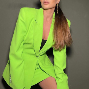 Womens Formal Dress Suit Business One Button Slim Fit Green Blazer Coat Outwear