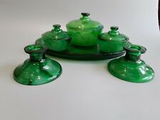 Davidson green cloud glass Dressing Table set.