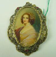 Spilla ciondolo in oro argento e perline con miniatura