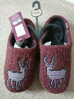 TOTES ISOTONER PILLOWSTEP MULES/SLIPPERS BURGUNDY STAG SZ 7-8 BNWT HARD SOLES