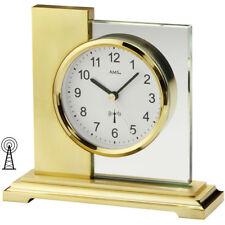 NEU AMS FUNK Tischuhr Funkuhr Mineralglas Metall gold Schreibtischuhr Bürouhr