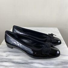 Salvatore Ferragamo Size 10 B Womens Black Patent Leather Ribbon Bow Flats Shoes