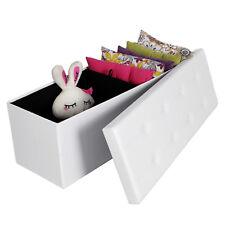 Songmics - 110x38x38 cm Tabouret Cube Pouf Dé pliable coffre de Rangement Blanc