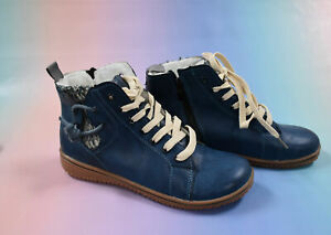 Women's Fleece Lined Ankle Boots Blue Size 4/ 37 - Casual Lace Up