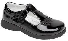 Girls School Shoes T-Bar Children smart Black Patent, Matt Size 6- 2 UK