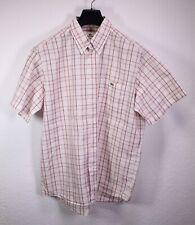HB262 Lacoste Herren Hemd Shirt weiß rot kariert Gr. L/42 Kurzarm regular
