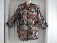 F. Womens Size 14 River Island See Through Shirt LADIES SUMMER SMART WORK CASUAL