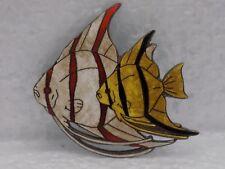 Vintage Sterling Marked Silver Enamel Striped Fish Brooch