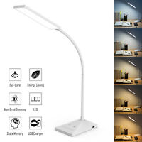 LED Desk Lamp Home Table Lamp 7 Levels Adjustable Night Light + USB Port