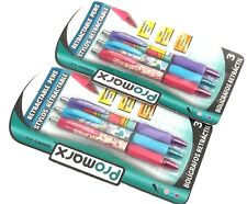2 PACKS 6 PENS Promarx® GRIPPY FX™ COMFORT GRIP RETRACTABLE BALL POINT ASST INK