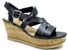 Franco Sarto Black Leather Ankle Strap Platform Wedge Sandals Heels Shoes 8 $99.