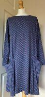 Seasalt Blue Floral Design Cotton Chestnut Dress - Excellent Condition. Size 12