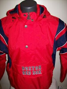BOSTON RED SOX Starter Hooded Half Zip Pullover Jacket 3X RED
