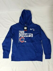 """Nike Chicago Cubs Therma Fit Hoodie Men's XL Blue """"2016 World Series Champs"""" NWT"""