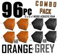 ComBo 96 pack ORANGE and charcoal GREYAcoustic Wedge Sound Studio Foam 12x12x1