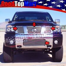 For TITAN 2004-2007 4PC Polished Grille Combo Upper OVERLAY+Bumper REPLACEMENT
