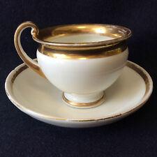 Tasse et sous-tasse porcelaine de Paris décor doré Louis-Philippe XIX ème France