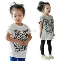 Kids Baby  Short Sleeve T-shirt Boys Girls Cotton Tiger Printed Tee Tops Clothes