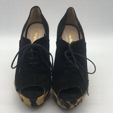 Prada Black & Brown Ponyhair & Suede Wedges Size 7