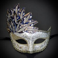 Gold & Blue Venetian Leaf Engraving Masquerade Mask for Women M7255
