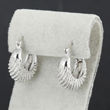 Lucky Authentic 9K White Gold Filled Caterpillar Womens Hoop Earrings No Allergy