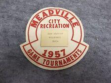 Meadville PA 1957 City recreation Girls Volleyball Felt Patch Award