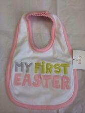 Girls My First Easter Bib New Nwt White Pink Cute Carter's $9 Soft & Cute